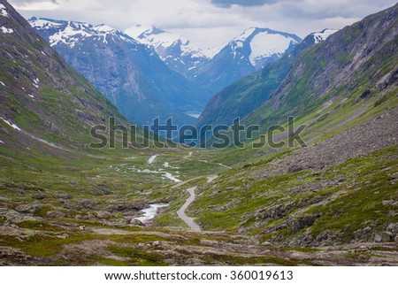 Summer landscape with the national tourist road, Norway.