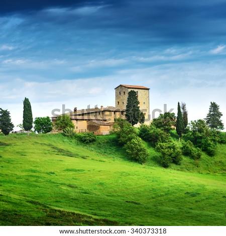 Summer landscape with villa. Italy, Tuscany - stock photo
