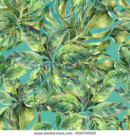 Summer leaves exotic watercolor seamless pattern, green tropical leaves, botanical natural illustration - stock photo