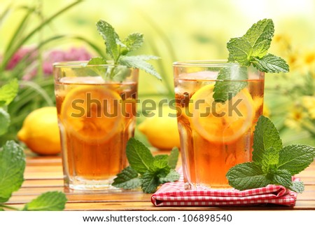 Summer lemon ice tea,Closeup. - stock photo