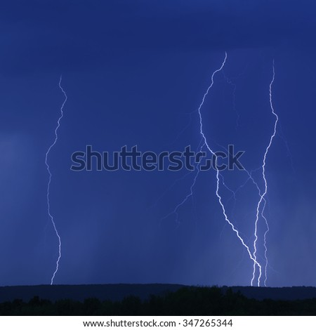 Summer Lightning Thunder Storm Showers - stock photo