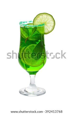 Summer Lime and Mint, Green Vodka Drink Isolated on white background. Selective focus. - stock photo