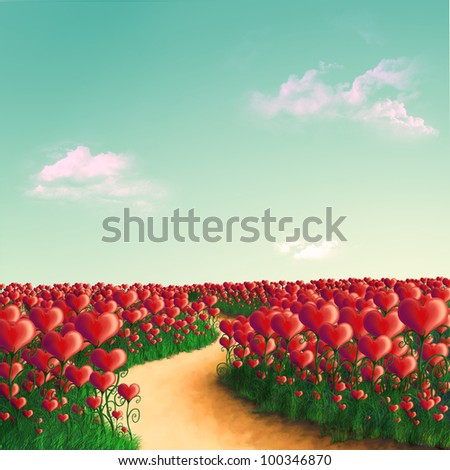 Summer Meadow from the hearts of growing in the grass under a turquoise sky with clouds - stock photo