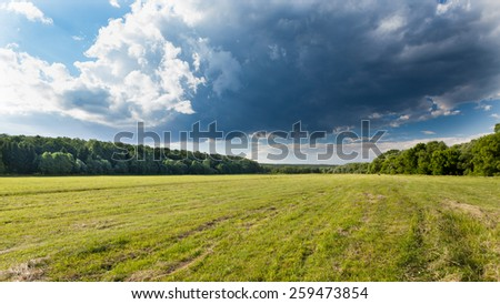Summer meadow with dark clouds and forest - stock photo