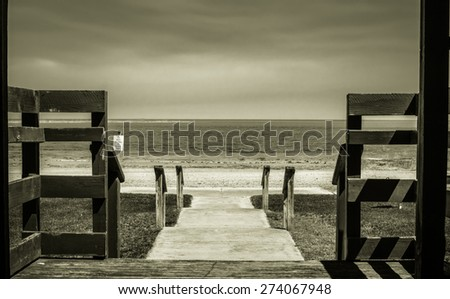 Summer Memories. Vintage shot of an old stairway leading to the beach. Pinconning, Michigan. - stock photo
