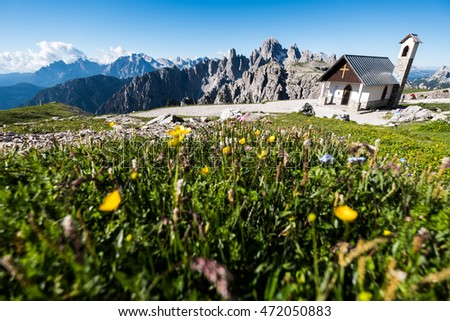Summer morning in the mountains, Dolomites, Italy