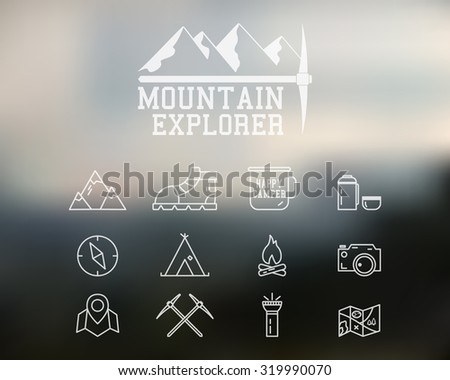 Summer mountain explorer camp badge, logo template. Travel, hiking, climbing line icons. Thin and outline design. Outdoor. Best for adventure sites, travel magazine etc. On blurred background. . - stock photo