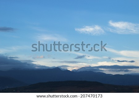 summer mountain landscape and cloudy sky