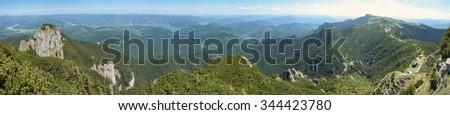 summer mountain landscape in Romania, Ceahlau - stock photo
