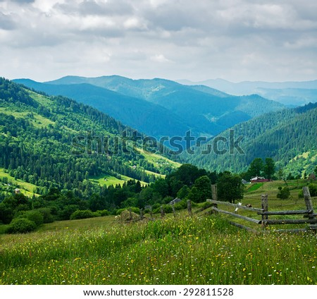 Summer mountain landscape. Ukrainian Carpathians - stock photo