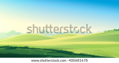Summer mountain rural landscape. Raster illustration.