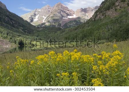 Summer mountain scenic - wildflowers around Colorado's Maroon Bells, near Aspen. - stock photo