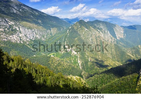 Summer mountains from high point. Pyrenees, Spain - stock photo
