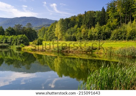 Summer mountains landscape with reflection in the lake. View of Jizerske Mountains in Czech Republic.