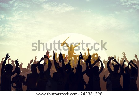 Summer Music Festival Beach Party Performer Excitement Concept - stock photo