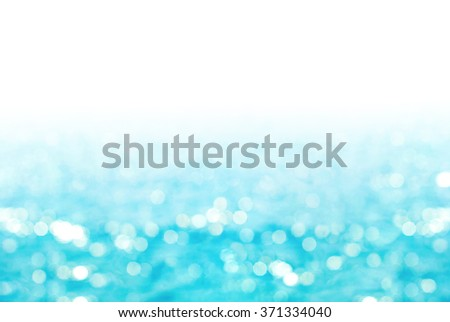 Summer Natural Background with Blue Sea in Defocused against Sunlight Isolated in White - stock photo