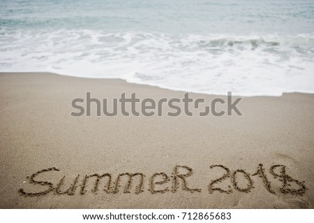Summer 2018. New Year 2018 Is Coming Concept. Sea And Sand.