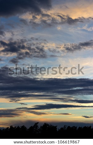 Summer night clouds in Finland, vertical composition
