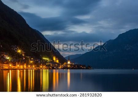 Summer night in Hallstatt, Austria - stock photo