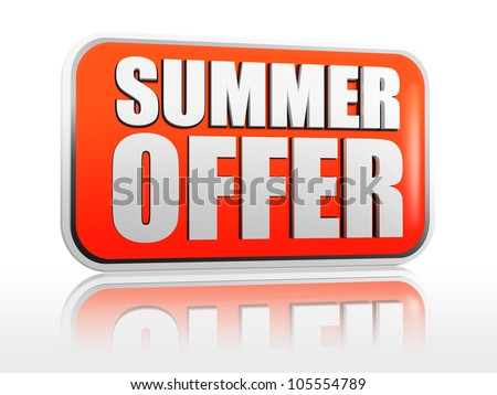 summer offer - 3d orange block like banner with text