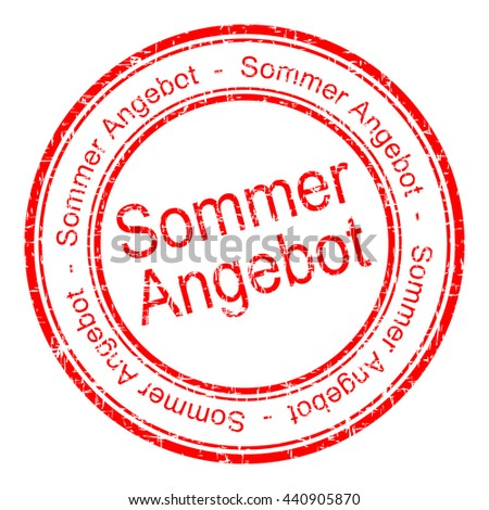 summer offer rubber stamp - in german - stock photo