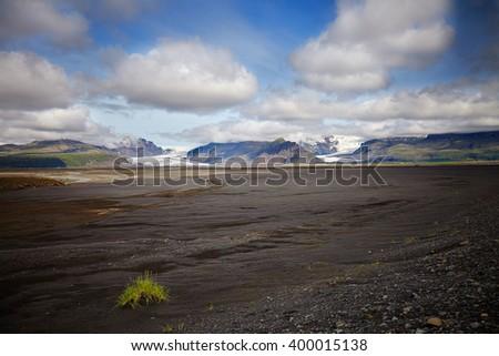 Summer on Iceland, with svinafellsjokull and Skaftafell  glaciers - stock photo