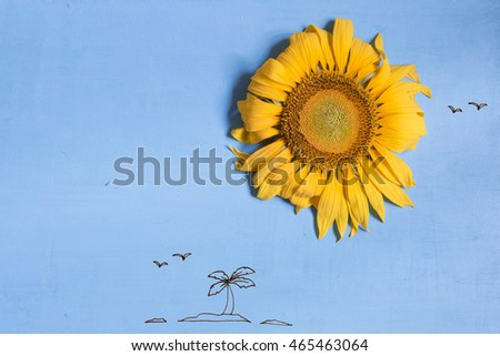 summer or beach concept, , a sun - sunflower and island with palm