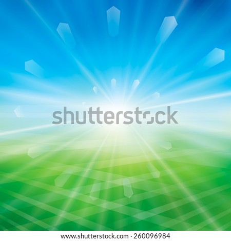 Summer or spring background with glaring sun. - stock photo
