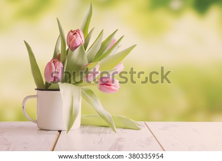Summer or spring beautiful tulip flowers in the garden - stock photo
