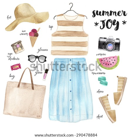Summer outfit. Hand drawn watercolor fashion illustration. - stock photo