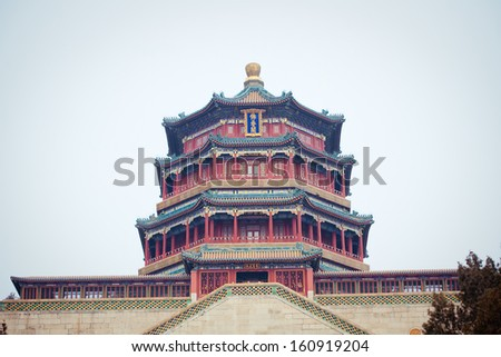 Summer palace in Beijing, China at winter - stock photo