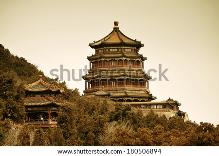 Summer Palace with historical architecture in Beijing. - stock photo