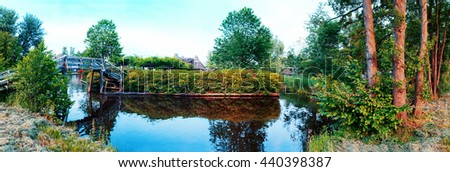 summer panorama of  in old dutch village, Giethoorn