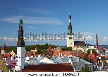 Summer panorama of Tallinn, Estonia - stock photo