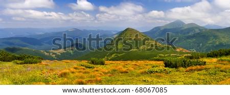Summer panorama of the Carpathian Mountains - stock photo