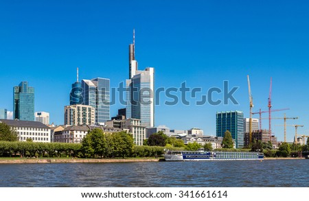 Summer panorama of the financial district in Frankfurt, Germany - stock photo