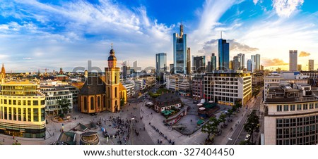 Summer panorama of the financial district in Frankfurt, Germany in a summer day - stock photo