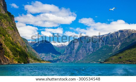 Summer panoramic view of the famous Sognefjord in Norway. - stock photo