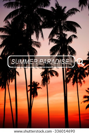 Summer Paradise Search Website Beach Concept - stock photo