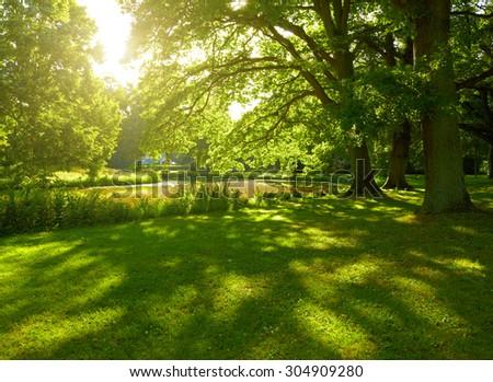Summer park in Hamburg, Germany - stock photo