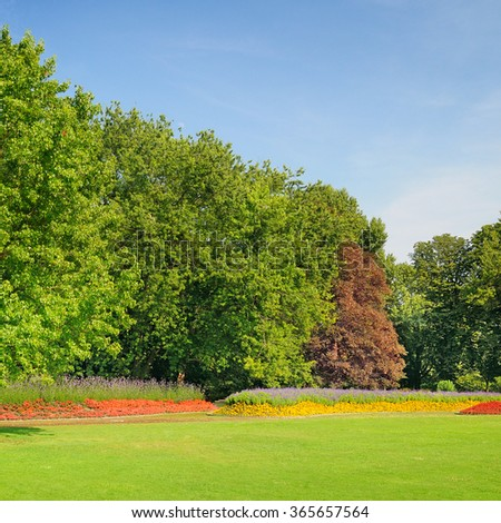 summer park with beautiful flowerbeds - stock photo