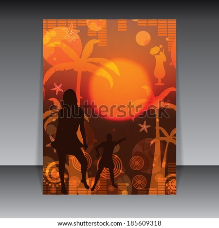 Summer party flyer orange red sunset background  - stock photo