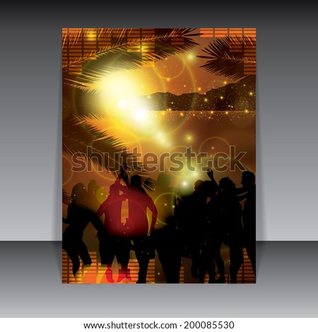 Summer party flyer warm sunset background  - stock photo