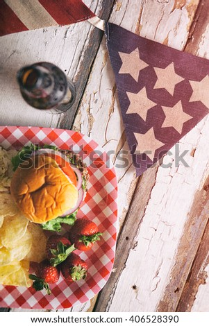 Summer: Patriotic Summertime Cookout Background With Burger - stock photo
