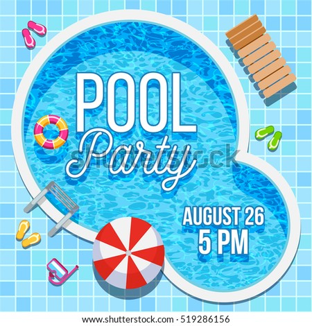 Awesome Summer Pool Party Invitation With Nobody Water Swimming Pool Background