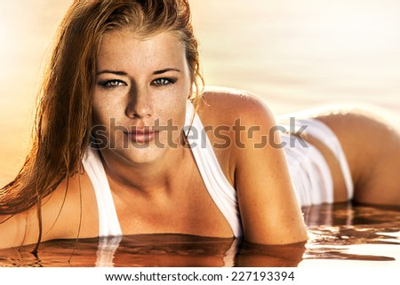 Summer portrait, beautiful freckled young girl with red hair - stock photo