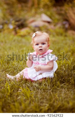 Summer portrait of beautiful baby