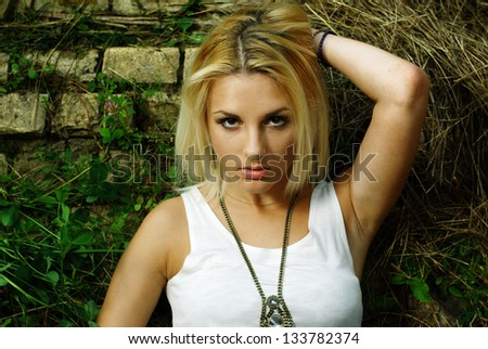 summer portrait of young pretty cute blonde girl - stock photo
