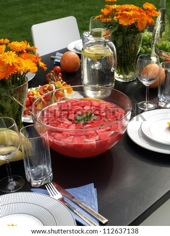 Summer punch from watermelon for garden party