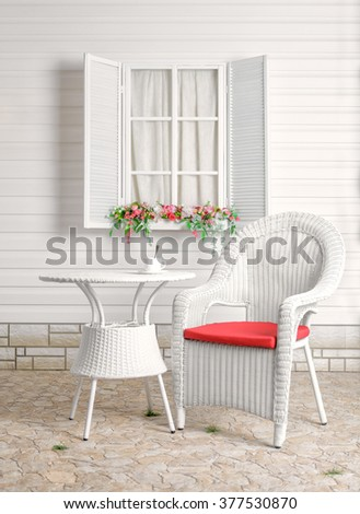 Summer recreation area. Wicker furniture. - stock photo